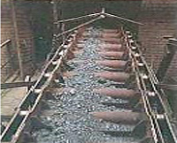 Coal elevator apron transfer conveyor